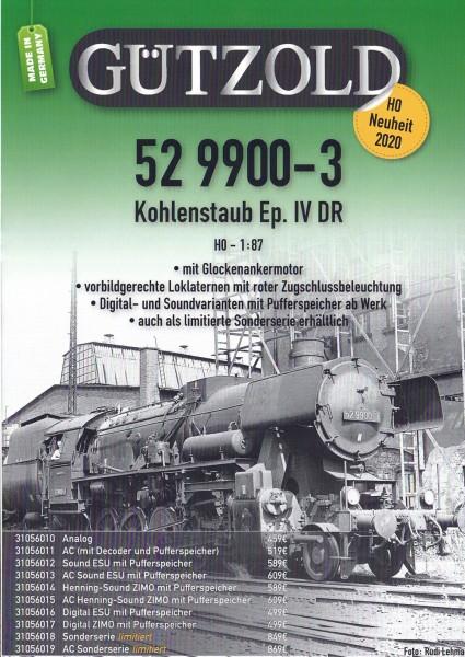 BR 52 3332 2 Ep.3 DR, Kohlenstaubtender Digtal-ESU-Decoder