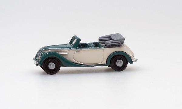 F8 Export-Cabrio Stahlkarosse,grün-beige, offenes Verdeck