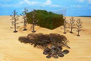 15 Bäume, Bausatz mit Beflockung