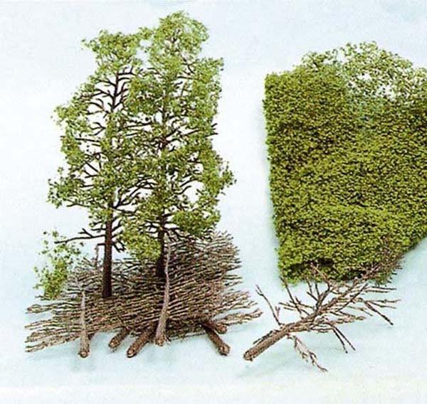 Bäume, Bausatz mit Heki-Flor (Laub-Foliage), 14 x28 cm
